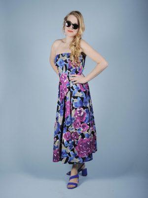 Abito a bustier fantasia floreale viola blu 1