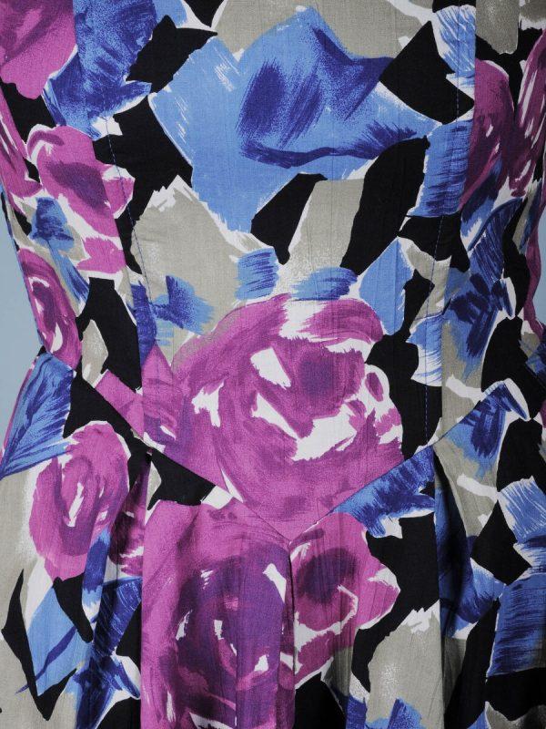 Abito a bustier fantasia floreale viola blu 2