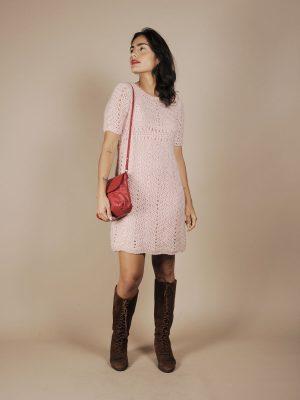 Abito in maglia rosa anni 70