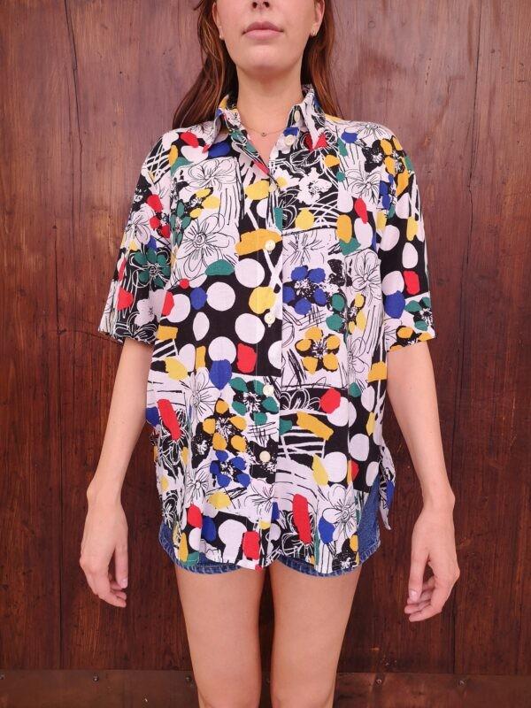 Camicia anni 80 optical fiori e pois