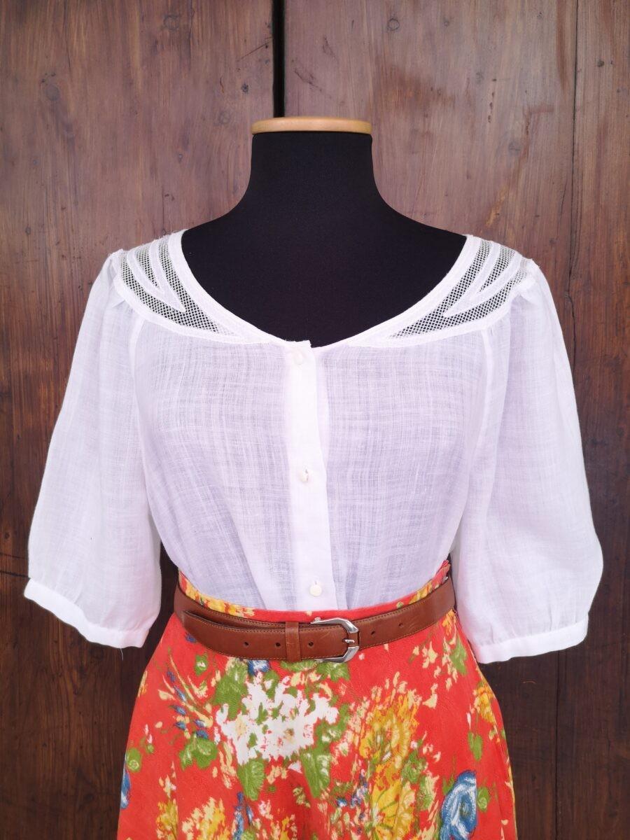 Camicia bianca in misto lino con ricamo a rete