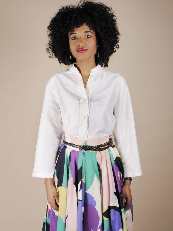 Camicia bianca in shantung di seta