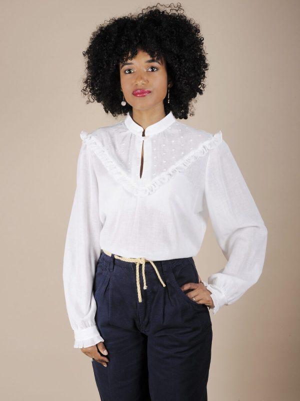 Camicia bianca rouches