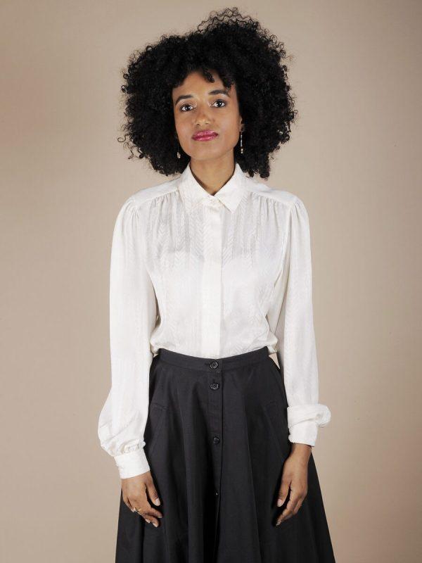 Camicia bianca spiga tono su tono 1