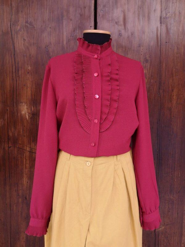 Camicia bordeaux con ruches anni 70