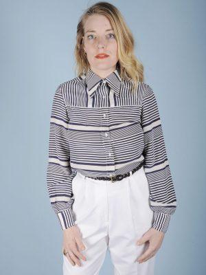 Camicia in pura seta a righe bianche e blu 1