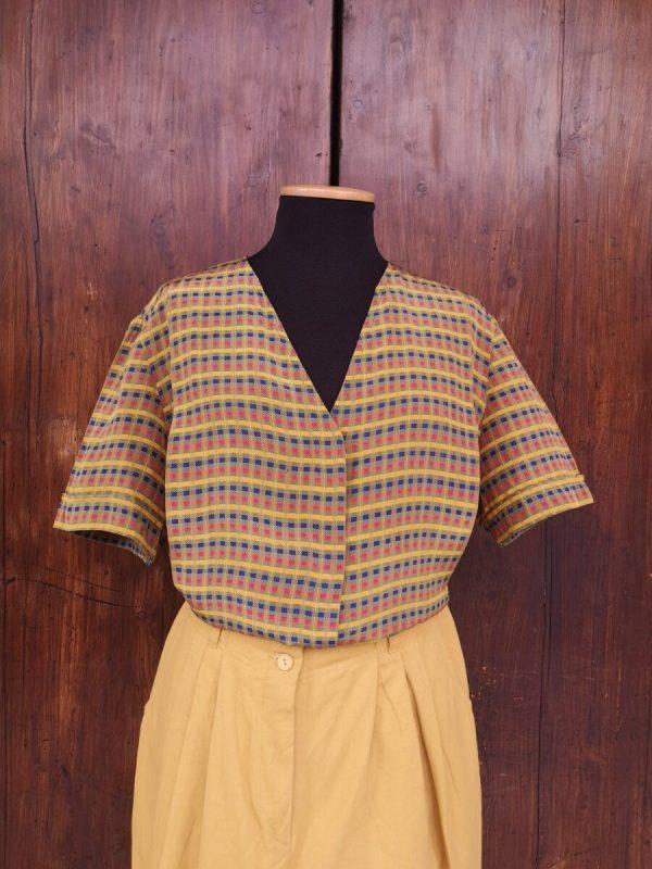 Camicia in pura seta fantasia quadretti multicolor