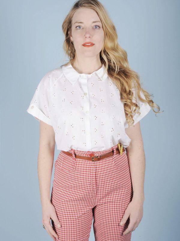 Camicia in san gallo di cotone bianco