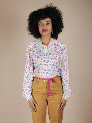 Camicia in seta a pois multicolor 1