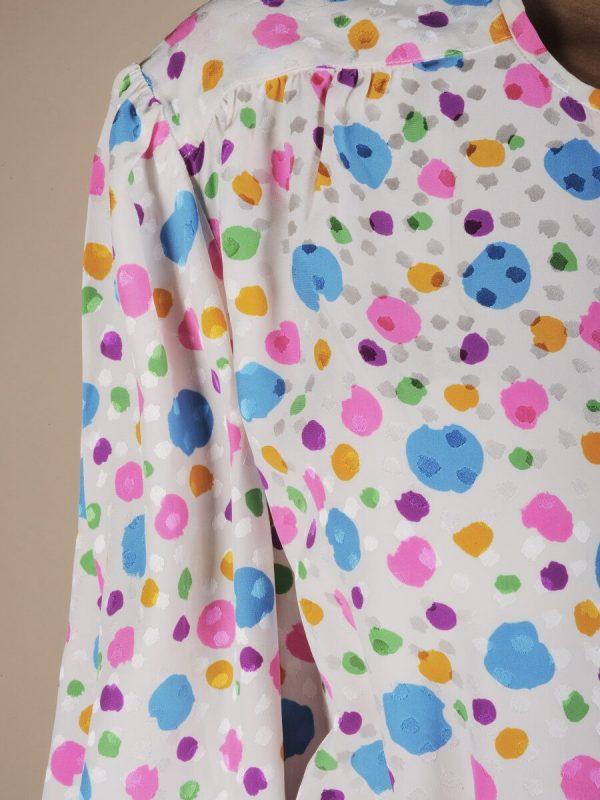 Camicia in seta a pois multicolor 2
