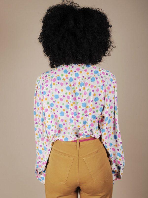 Camicia in seta a pois multicolor 3