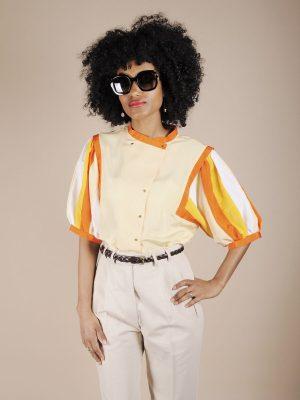Camicia maniche a palloncino a righe arancio giallo