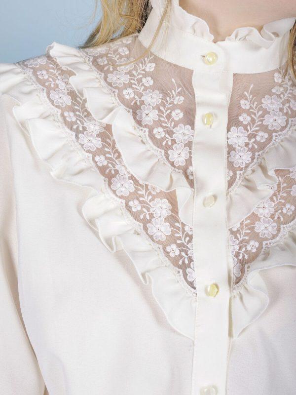 Camicia romantica rouches pizzo 2