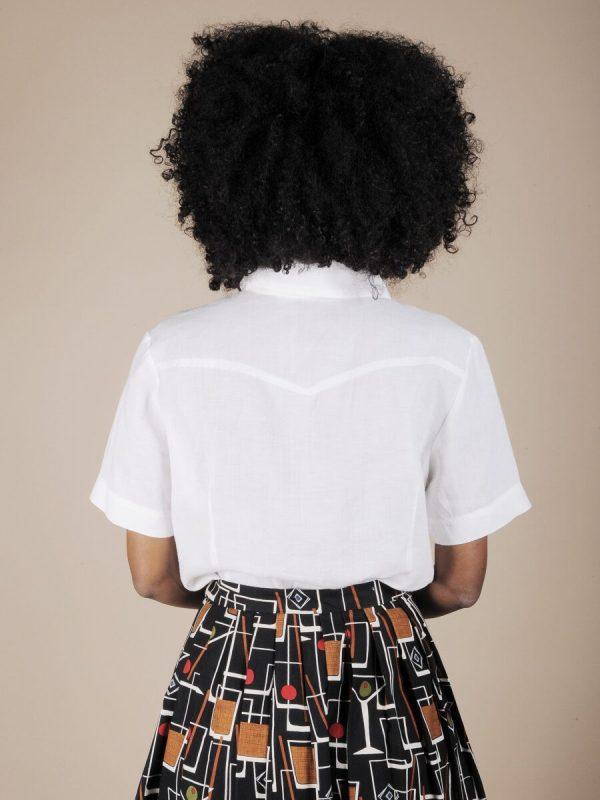 Camicia safari in puro lino bianco 2