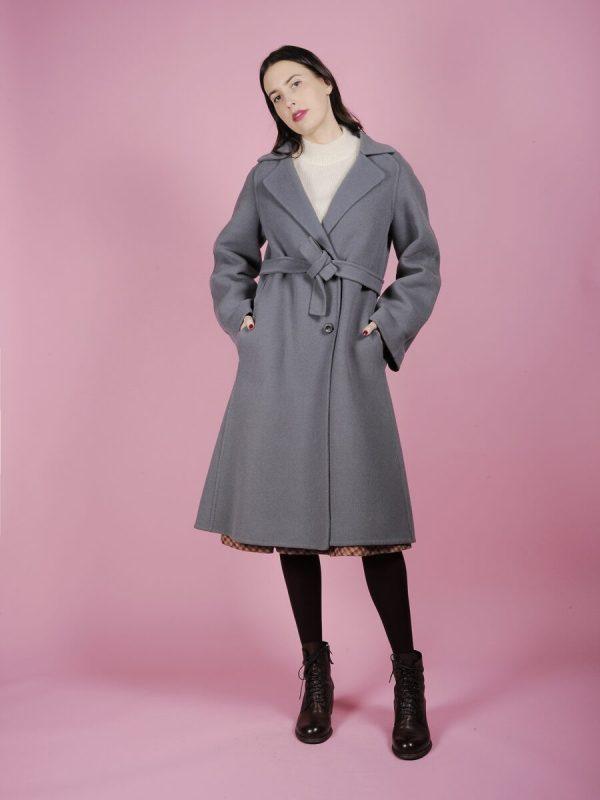 Cappotto a vestaglia grigio ghiaccio