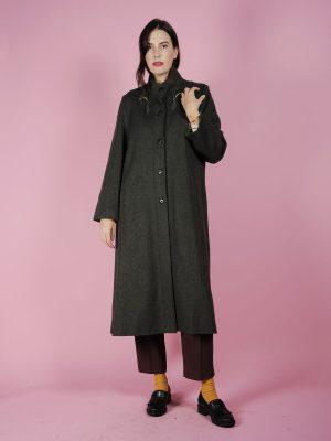 Cappotto lungo verde con ricamo