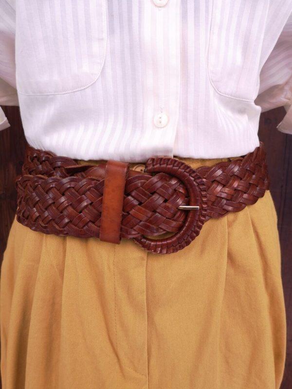 Cintura alta in pelle intrecciata cuoio scuro