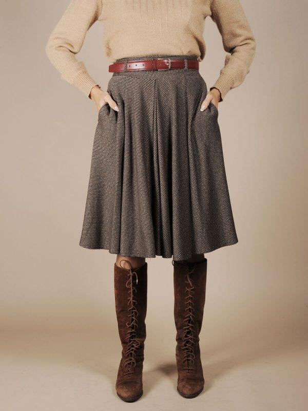 Gonna ampia lana anni70