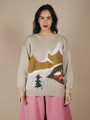 Maglione natalizio paesaggio fatto a mano