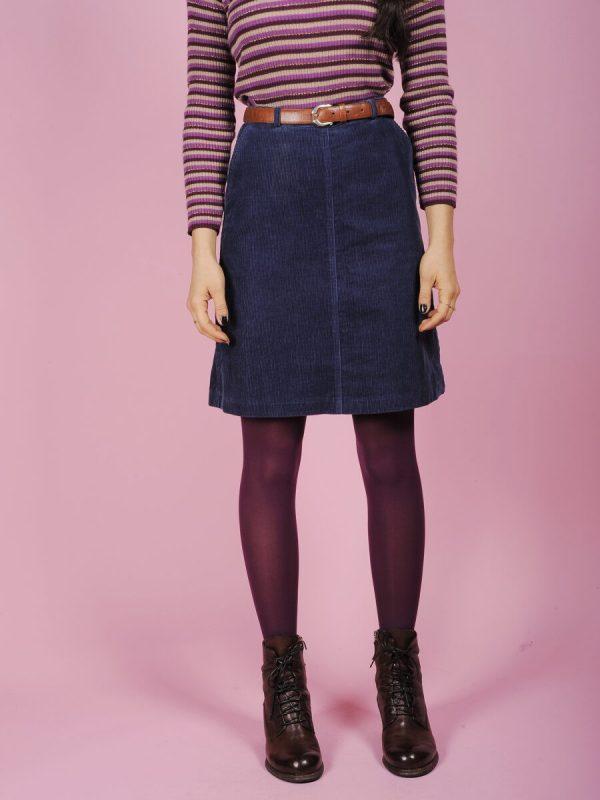 Minigonna in velluto millerighe blu