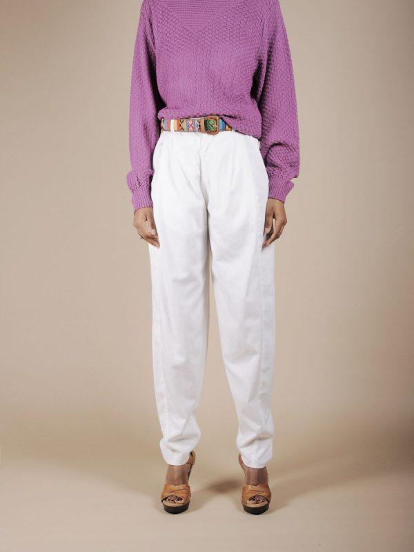 Pantalone a vita alta bianco in cotone