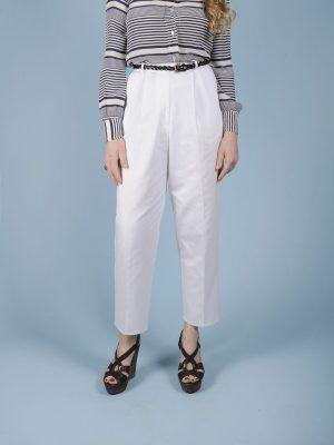 Pantalone a vita alta bianco in misto cotone