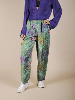 Pantalone a vita alta tropical in pura seta 1