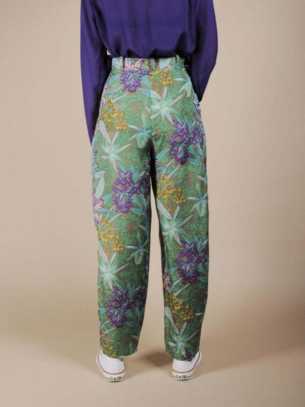 Pantalone a vita alta tropical in pura seta 3