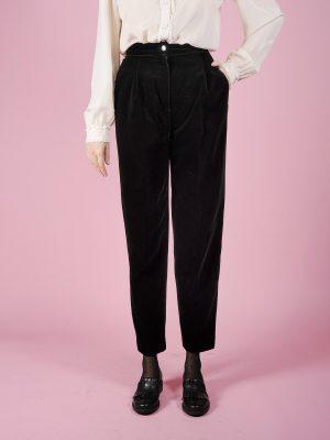 Pantalone in velluto liscio nero