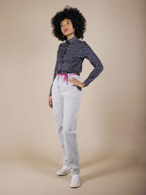 Pantalone marinaretto a righe bianco blu