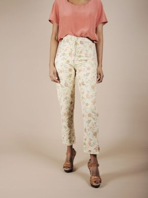 Pantalone sartoriale in tessuto indiano ricamato