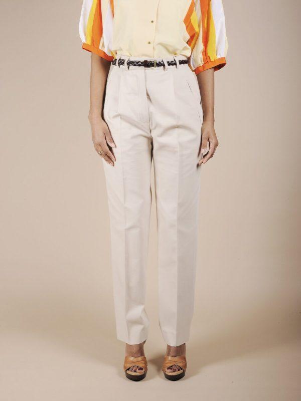 Pantalone vita alta beige chiaro