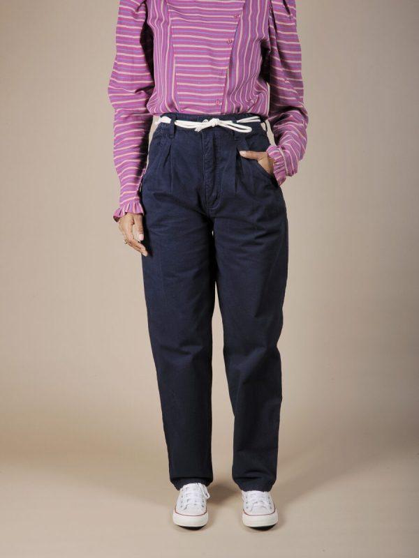 Pantalone vita alta blu scuro in cotone 1