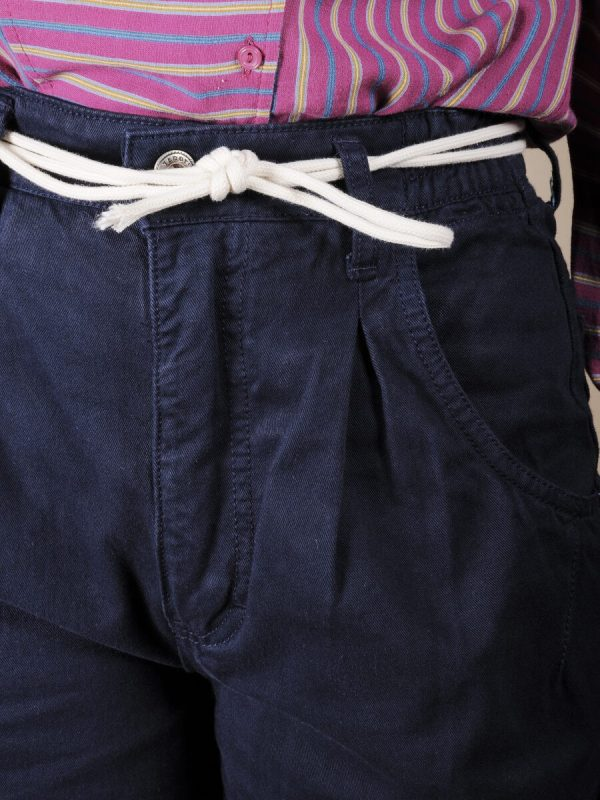 Pantalone vita alta blu scuro in cotone 2