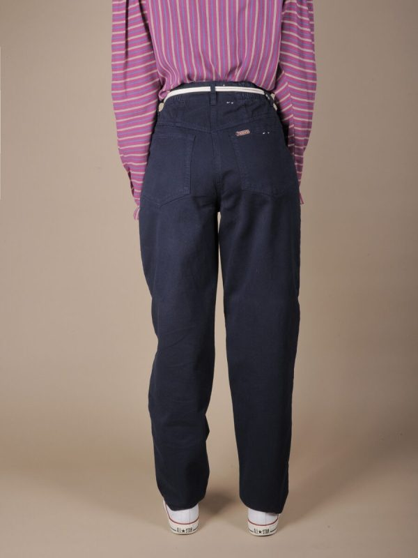 Pantalone vita alta blu scuro in cotone 3