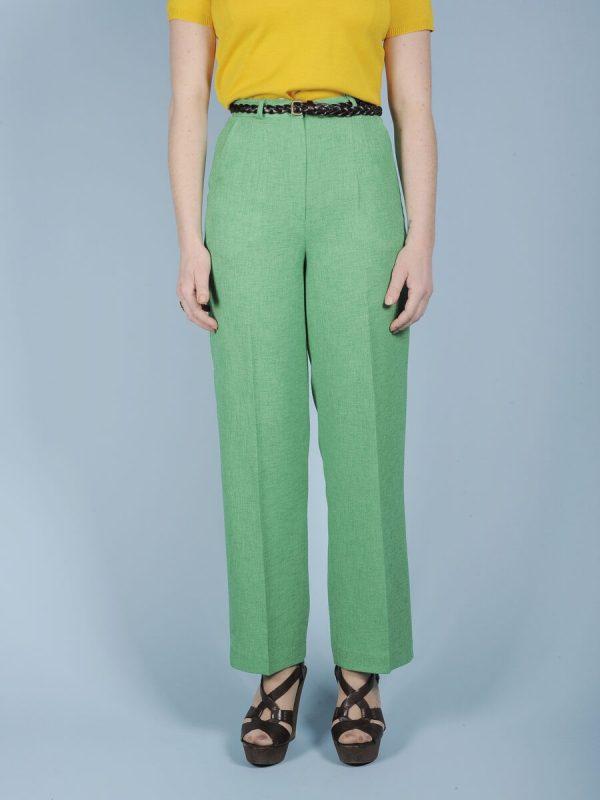 Pantalone vita alta verde