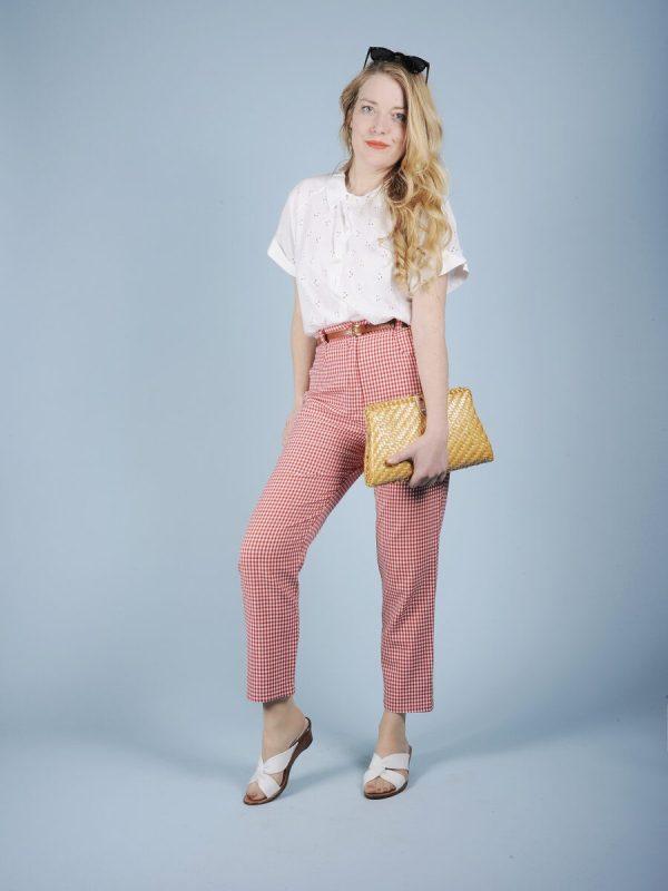 Pantolone vichy bianco rosso