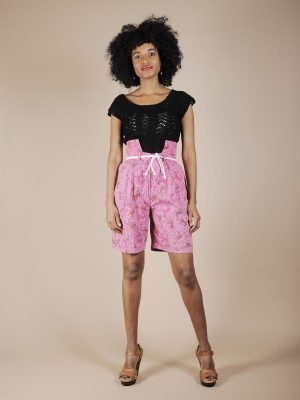 Shorts in cotone rosa fantasia animali atztechi 1