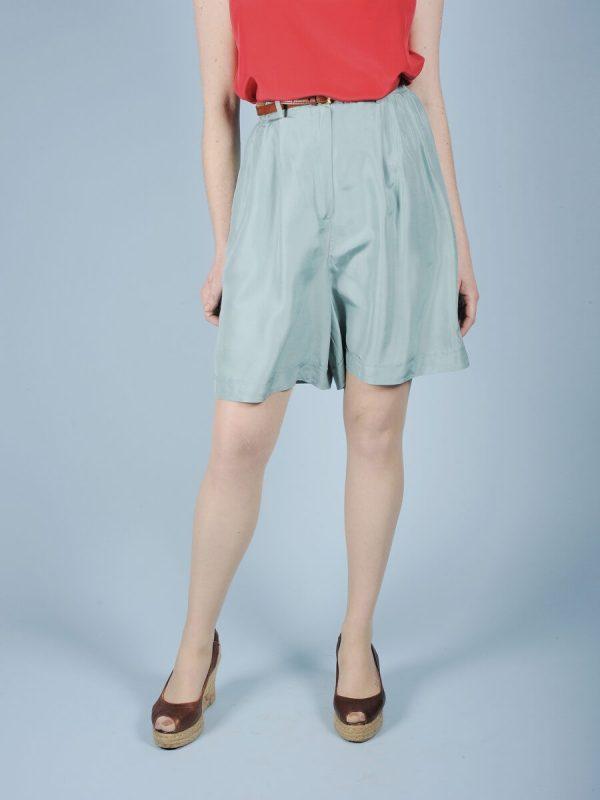 Shorts verde acqua in seta 2 1