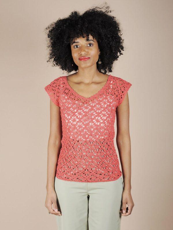 Top crochet corallo in cotone fatto a mano 1