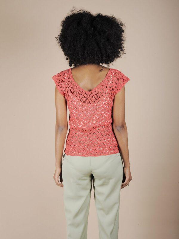 Top crochet corallo in cotone fatto a mano 2