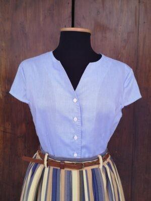 Top in cotone azzurro melange