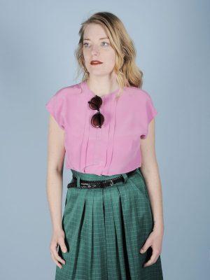 Top in pura seta rosa blush