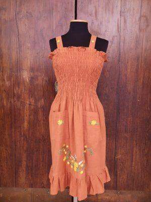 abito balza marrone fiori