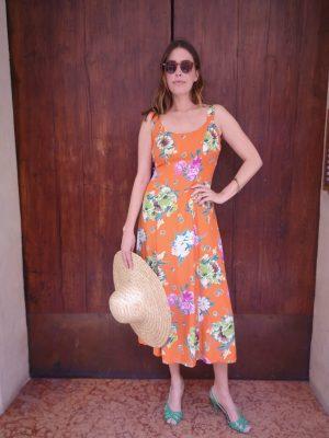 abito lungo arancione