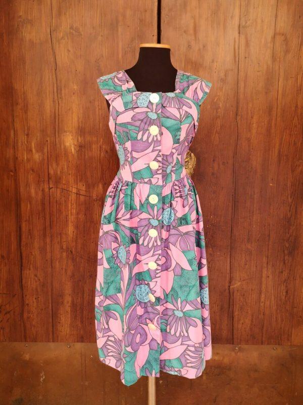abito macro fiori verde rosa