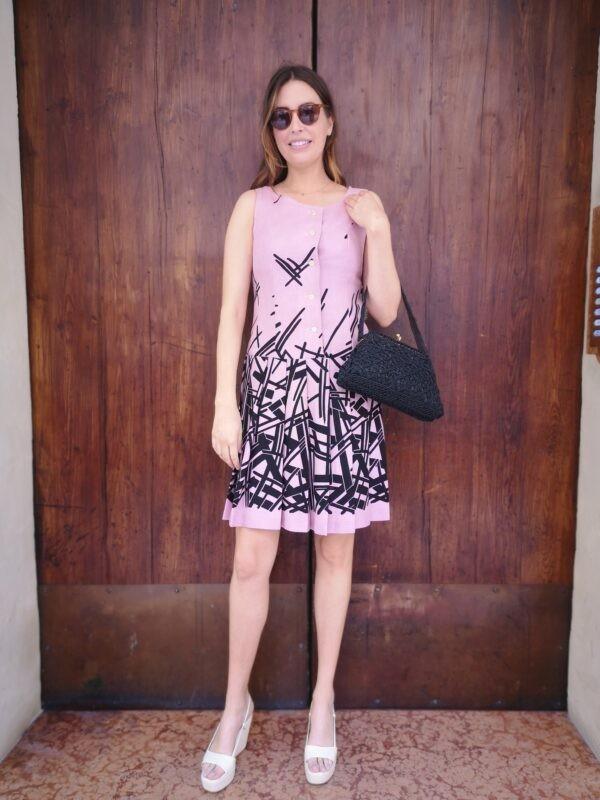 abito rosa fantasia geometrica