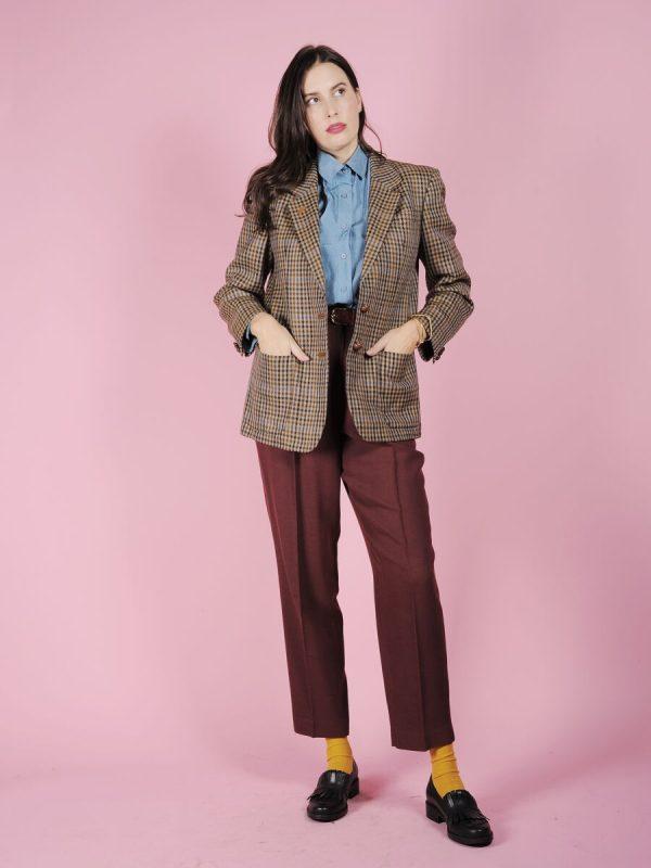 blazer quadrettini lana vintage
