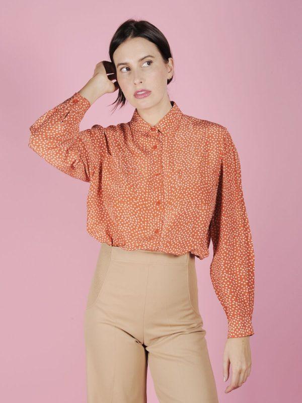 camicia seta arancione