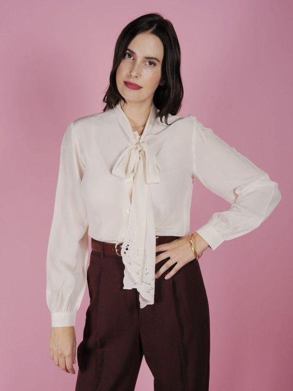 camicia seta fiocco
